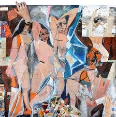 Les Demoiselles (Picasso), Greg Miller, Acrylic/Spray Paint, Collage-Figurative