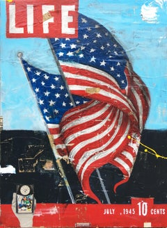 Life-40 x 30 inch Neo-Pop mixed media collage and painting vintage life magazine