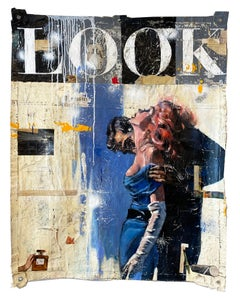 Look- unique mixed media painting on un-stretched canvas by Greg Miller