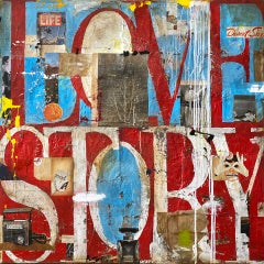Love Story, 2021_Greg Miller, Acrylic, Collage, Gloss Varnish on Panel-Text