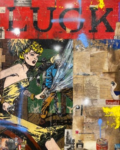 Luck, Greg Miller, 2021, Acrylic/Collage/Varnish (Western, Figurative, Text)