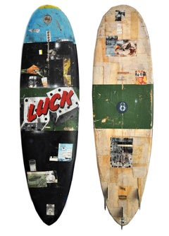Luck, Greg Miller, Acrylic Paint, Paper Collage, Resin on Surfboard