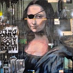 Mona Lisa, Greg Miller-2020, Acrylic/Spray Paint, Collage- Figurative/Portrait