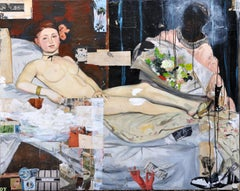 Olympia, Greg Miller, Acrylic/Spray Paint, Collage-Female Figurative (Manet)