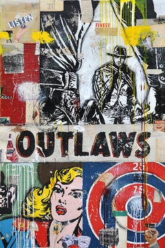 Outlaws, Greg Miller, Acrylic, Collage Paper, Resin on Canvas- Pop Western