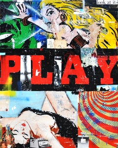Play, Greg Miller (Figurative Mixed Media Collage, Text)