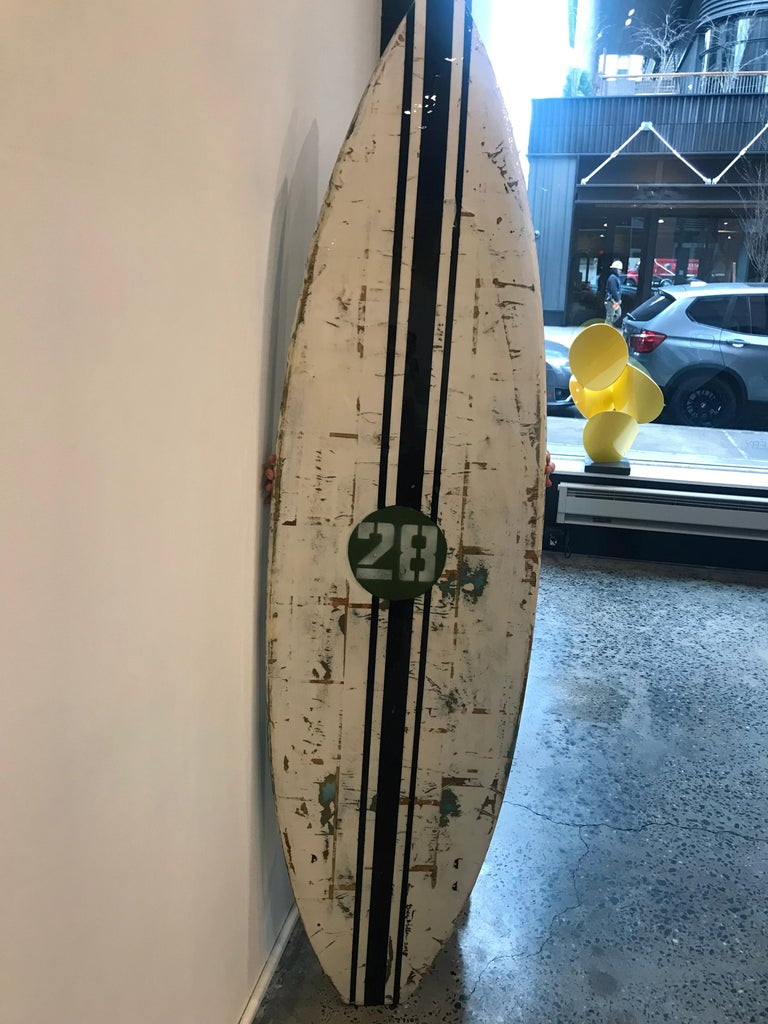 Red Pony, Greg Miller, Acrylic Paint, Paper Collage, Resin on Surfboard For Sale 7