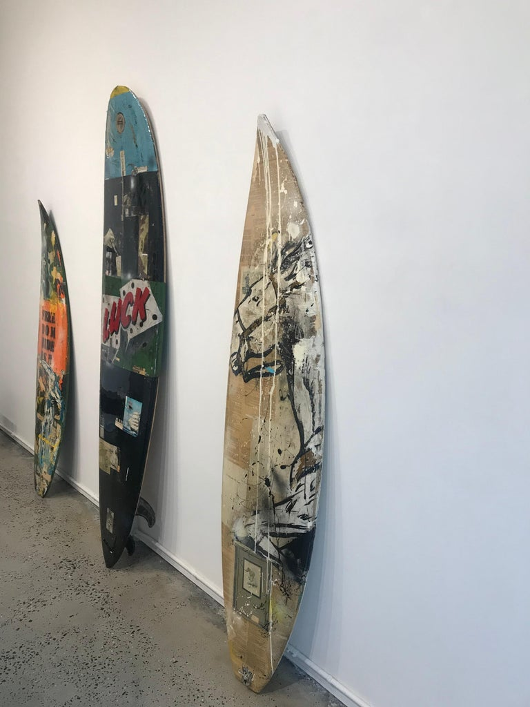 Red Pony, Greg Miller, Acrylic Paint, Paper Collage, Resin on Surfboard For Sale 3