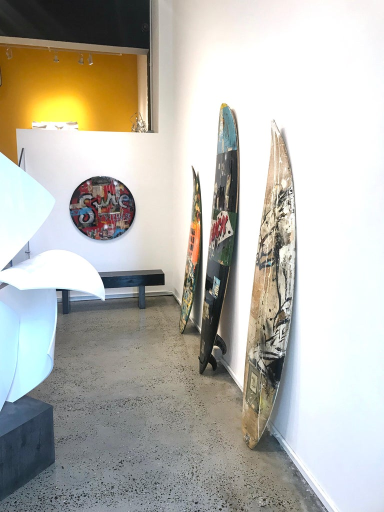 Red Pony, Greg Miller, Acrylic Paint, Paper Collage, Resin on Surfboard For Sale 5