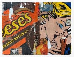 Reeses_Greg Miller, 2021, Acrylic/Collage/Paper (Text, Pop Art, Figurative)