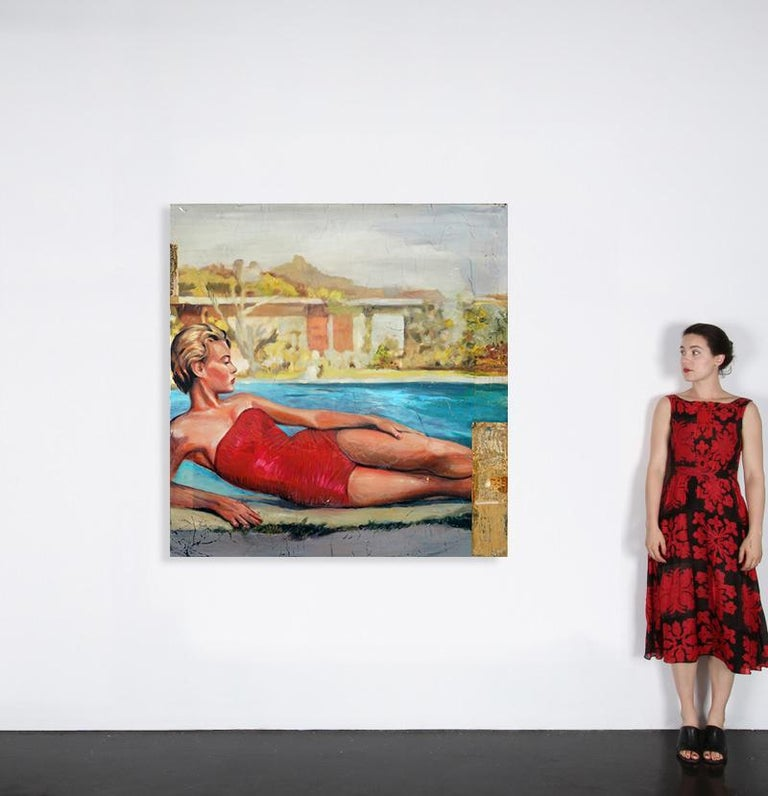 Greg Miller grew up in 50's -60's Sacramento, inspired by the rush of billboards, posters, ads and text that shaped the flat delta landscapes and pulp fiction images of his youth. Layer upon layer of images, one billboard or poster slapped over the