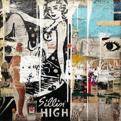 Sittin High, Greg Miller, 2020, Acrylic, Collage, Resin on Panel- figurative