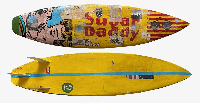 Sugar Daddy, 2021_Greg Miller_Acrylic/Collage/Resin/Reclaimed Surfboard