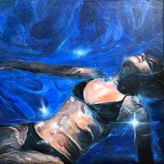 Sunset, Greg Miller, 2020, Acrylic/Collage/Resin on Panel (Swimmer, Figurative)