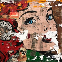 The Good, Greg Miller, Acrylic, Collage, Resin- Figurative Female Portrait