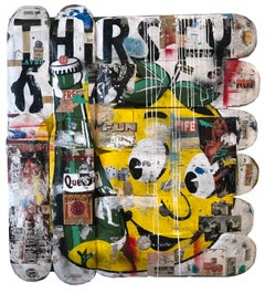 Thirsty, Greg Miller, 2020, Acrylic Paint/Spray Paint/Collage on Skateboard-text