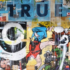 True, Greg Miller, Acrylic, Collage, Resin on Panel- Figurative +Text (Blue)