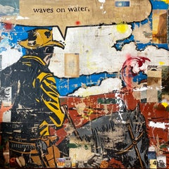 Waves on Water- western themed mixed media on panel by Greg Miller