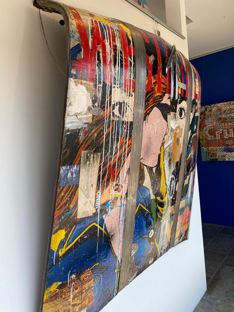 GREG MILLER Westerner, 2021 Acrylic, Collage on 1949 Pontiac Car Hood 54 x 53 in.  Drawing from the diverse cultural and geographic makeup of his Californian roots, Greg Miller explores his relationship with the space he inhabits to communicate a