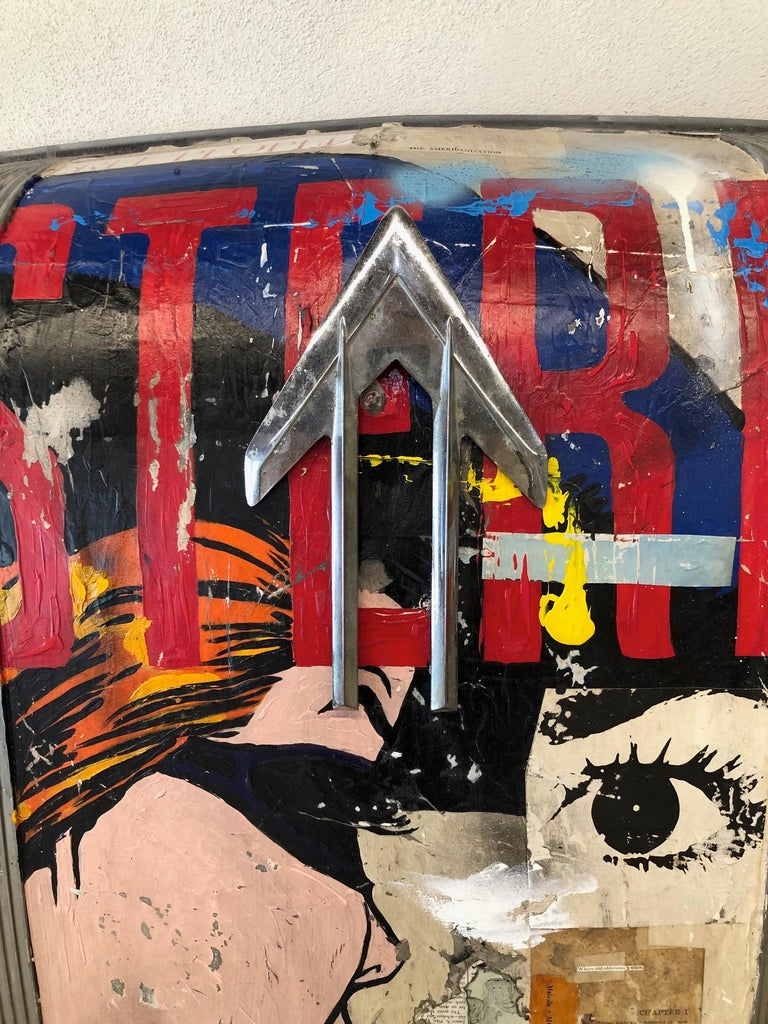 Westerner, 2021_Greg Miller_Acrylic, Collage, 1949 Pontiac Car Hood_Figurative For Sale 2