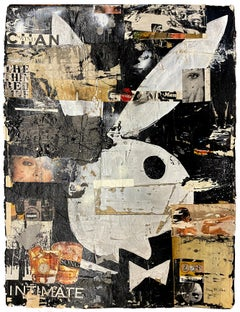 Wind Bunny, Greg Miller, 2021, Acrylic/Collage/Paper (Text, Pop Art)