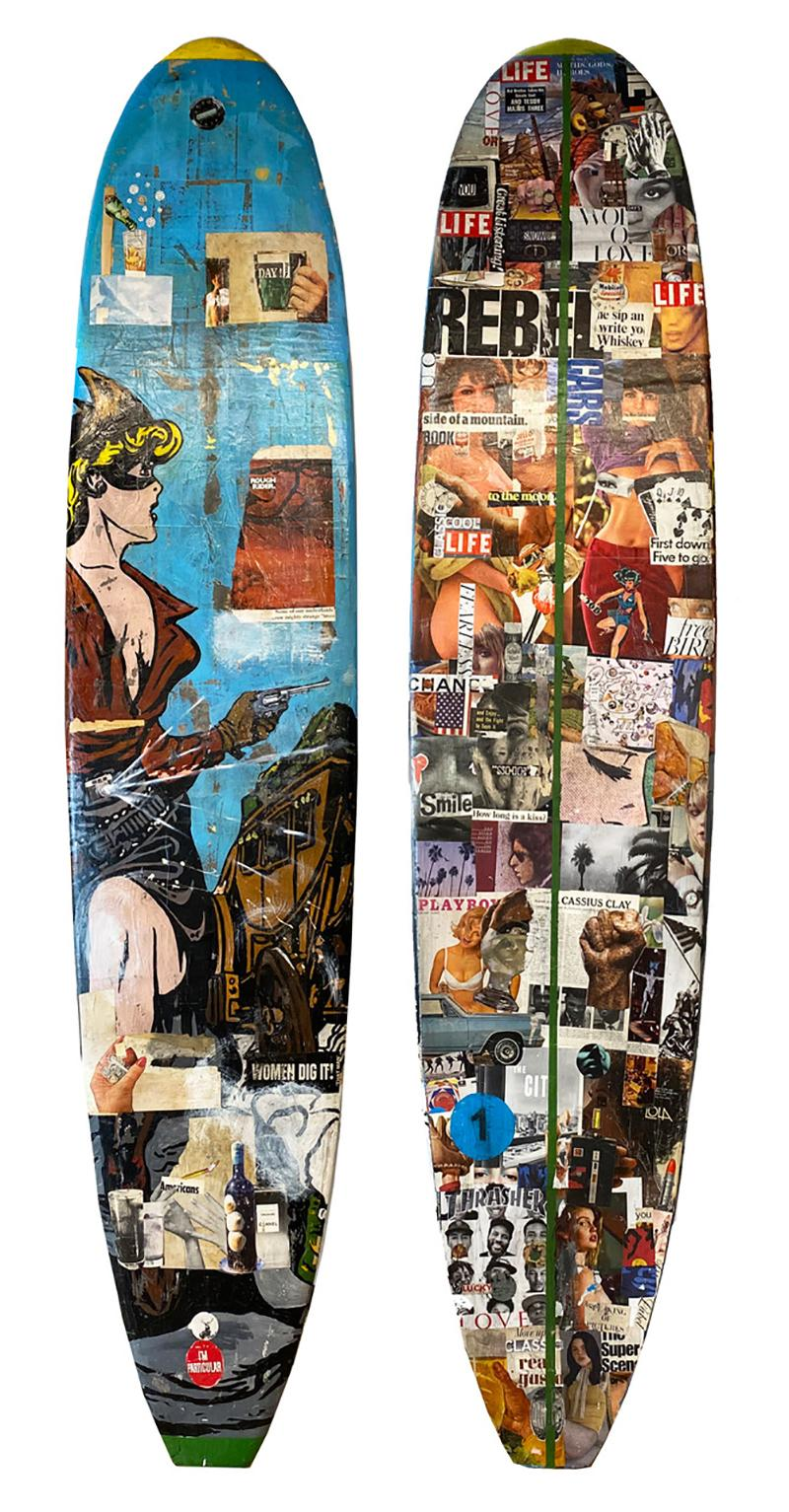 Woman Dig It, 2021_Greg Miller_Acrylic/Collage/Resin/Reclaimed Surfboard