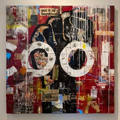 Cool- red painting with mixed media and book spines on canvas by Greg Miller