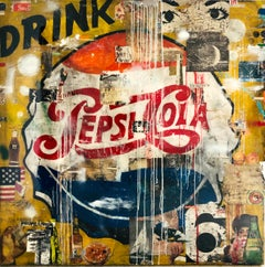 Drink Pepsi Cola - 60 x 60 inch neo pop mixed media painting in mustard and red