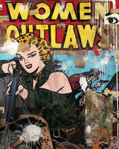 Woman Outlaw- neo-pop, resin, collage painting by Greg Miller