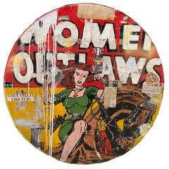 Women Outlaws- red and yellow collage and resin neo-pop painting on panel