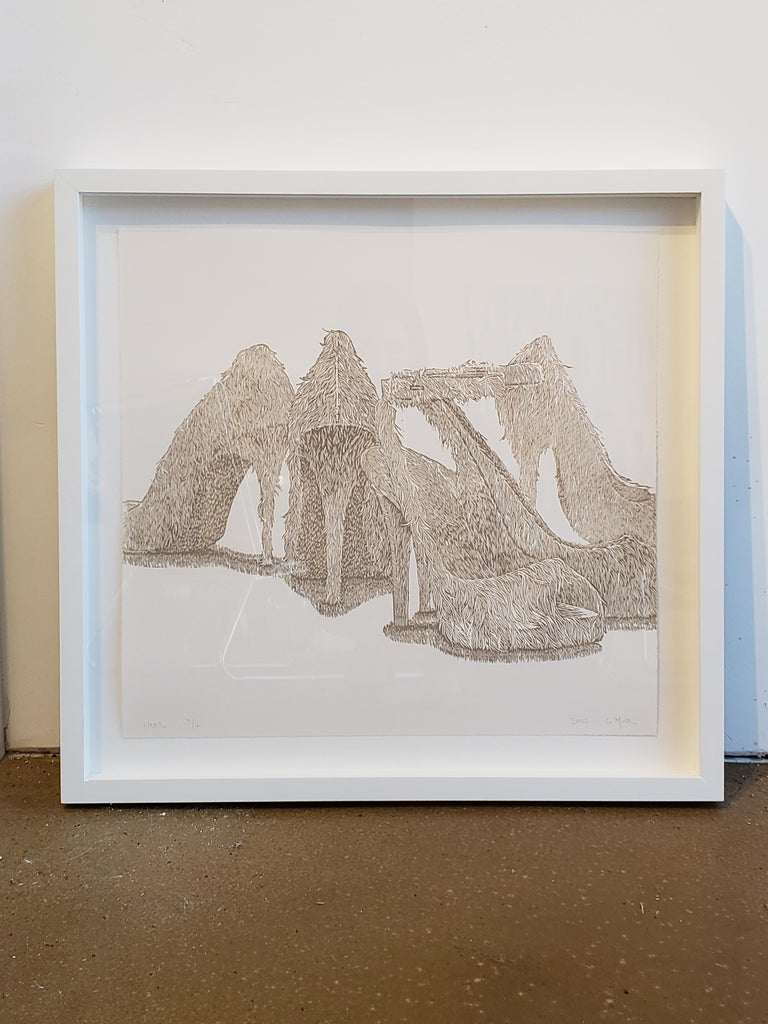 Greg Murr combines painting and drawing in airy compositions that function as philosophical inquiries into the flux of the natural world. In this limited edition woodcut print, Murr offers the viewer a