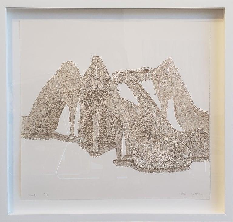 """Heel"" Print by Contemporary Artist Greg Murr - Gray Still-Life Print by Greg Murr"