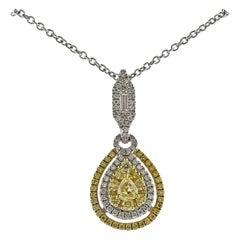 Gregg Ruth 1.00 Carat Fancy Yellow Diamond Gold Pendant Necklace