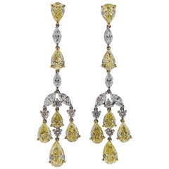 Gregg Ruth 10.23 Carat Yellow Diamond Gold Platinum Drop Earrings