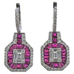 Gregg Ruth 1.16 Carat Diamond 2.24 Carat Ruby Gold Earrings