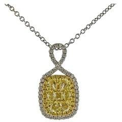 Gregg Ruth 1.41 Carat Fancy Yellow Diamond Gold Pendant Necklace