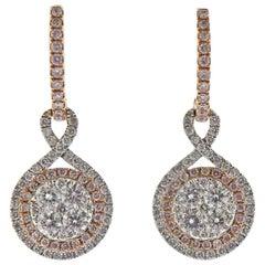 Gregg Ruth 1.43 Carat Pink White Diamond Gold Earrings