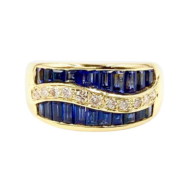 Gregg Ruth 18 Karat Blue Sapphire and Diamond Wide Ring