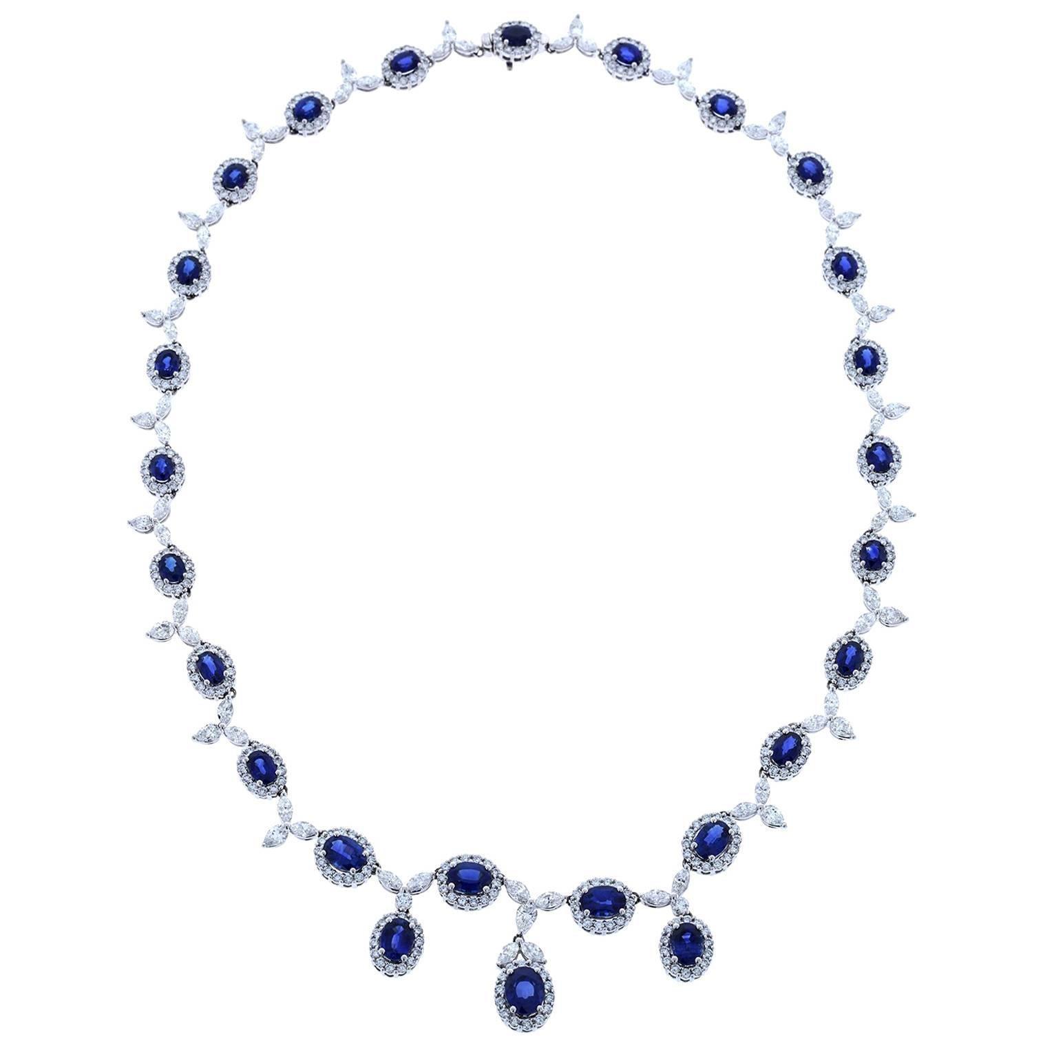 Gregg Ruth 18 Karat White Gold 17.90 Sapphire, 14.40 Total Diamond Necklace