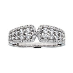 Gregg Ruth 18K White Gold and 0.65 Carat Round Diamond Wedding Band Ring Size6.2