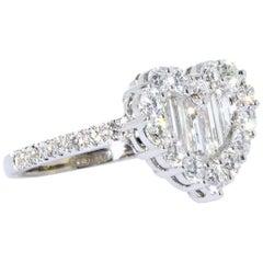 Gregg Ruth 18 Karat White Gold Baguette and Round Diamond Heart Shape Ring
