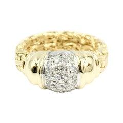 Gregg Ruth 18 Karat Woven Ring with Pavé Diamonds