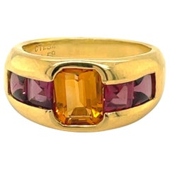 Gregg Ruth 18KT Yellow Gold Ring with 1.34Ct. Citrine Center & 1.59Ct. Rhodolite
