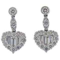 Gregg Ruth 2.43 Carat Diamond Gold Heart Earrings