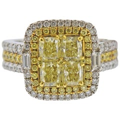 Gregg Ruth 3.06 Carat White and Yellow Diamond Gold Engagement Ring