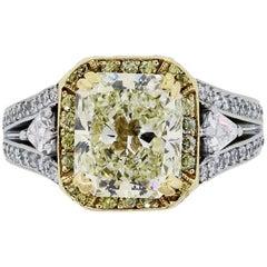 Gregg Ruth 3.42 Carat Radiant Cut Light Fancy Yellow Diamond Engagement Ring