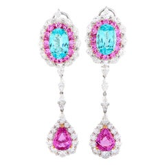 Gregg Ruth Paraiba Tourmaline, Diamond and Pink Sapphire Earrings in 18kw Gold