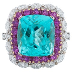 Gregg Ruth Paraiba Tourmaline Ring with Diamonds and Pink Sapphires in 18k Gold