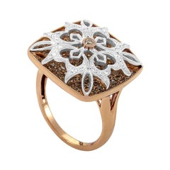 Gregg Ruth 18 Karat Multi-Gold and Diamond Pave Flower Ring