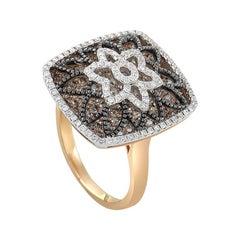 Gregg Ruth 18 Karat Rose Gold Diamond Flower Ring